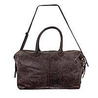 Leather travel bag, 'Espresso Traveler' - Roomy Weathered Expresso Leather Travel Bag with Adjustable