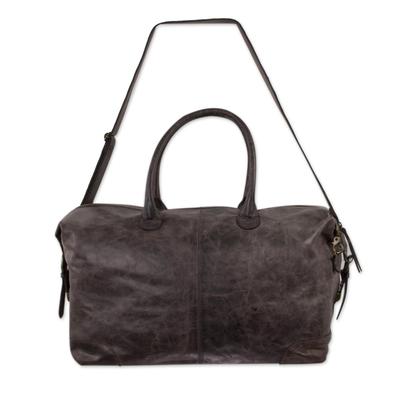 Leather travel bag, 'Espresso Traveler' - Roomy Weathered Expresso Leather Travel Bag with Adjustable