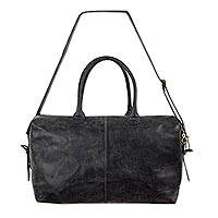 Leather travel bag Charcoal Grey Traveler Mexico