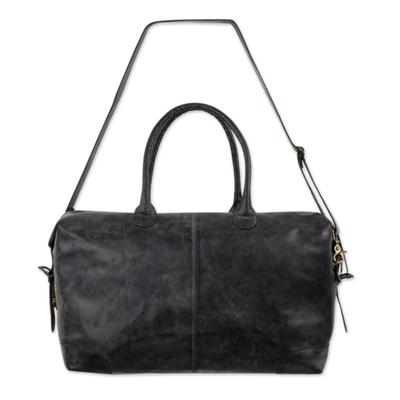 Leather travel bag, 'Charcoal Grey Traveler' - Roomy Weathered Charcoal Leather Travel Bag with Adjustable
