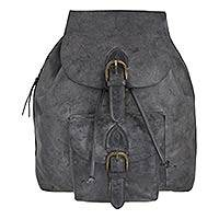 Men's leather backpack, 'Weathered Charcoal' - Roomy Weathered Leather Backpack with Adjustable Strap and B