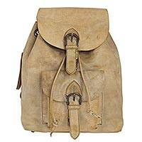 Leather backpack, 'Taupe Highroad' - Sturdy Taupe Color Leather Backpack from Mexico