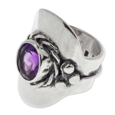 Artisan Crafted Amethyst and Sterling Silver Wrap Ring