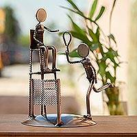 Upcycled auto parts statuette, 'Tennis Champ' - Upcycled Metal and Auto Parts Tennis Sculpture