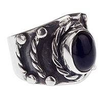 Men's obsidian ring, 'Protect' - Bold Men's Taxco Silver and Obsidian Ring