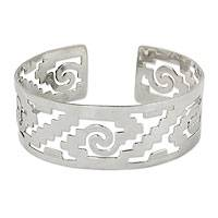 Sterling silver cuff bracelet, 'Steps of Tenochtitlan' - Handcrafted Mexican Cuff Bracelet with Pre-Hispanic Motifs