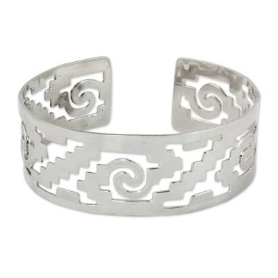 Handcrafted Mexican Cuff Bracelet with Pre-Hispanic Motifs