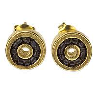 Gold plated beaded button earrings, 'Iris' - Artisan Crafted Gold Plated Earrings with Smoky Glass Beads