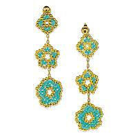 Gold plated beaded flower earrings, 'Don't Forget About Me' - Turquoise Beaded Flower Earrings Crafted by Hand