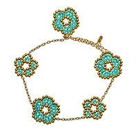Gold plated beaded flower bracelet, 'Don't Forget about Me' - Beaded Flower Charm Gold Plated Bracelet from Mexico