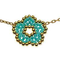 Gold plated beaded flower pendant necklace, 'Don't Forget About Me' - Turquoise and Gold Beaded Flower on Gold Plated Necklace