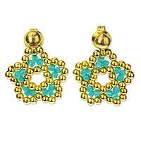 Gold plated beaded flower drop earrings, 'Don't Forget About Me' - Beaded Gold Plated Flower Earrings Handmade in Mexico