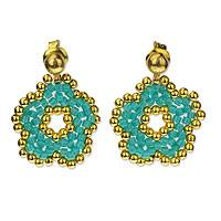 Gold plated beaded flower dangle earrings, 'Don't Forget Me' - Turquoise and Gold Beaded Flower Earrings Crafted by Hand