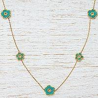 Gold plated beaded flower station necklace, 'Don't Forget About Me' - Beaded Glass Flowers on Gold Plated Station Necklace