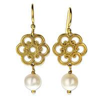 Gold plated cultured pearl flower earrings, 'Cream Spiral Blooms' - Spiral Flowers Gold Plated Earrings with Cream Pearls