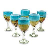 Blown glass wine glasses, 'Amber Riviera' (set of 6) - Turquoise and Amber Blown Glass Wine Glasses (Set of 6)