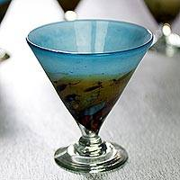 Blown glass martini glasses, 'Amber Riviera' (set of 6)