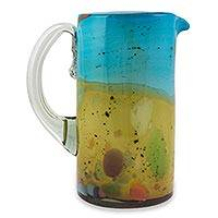 Blown glass pitcher, 'Amber Riviera II' - Blown Glass Turquoise and Amber Pitcher Crafted by Hand