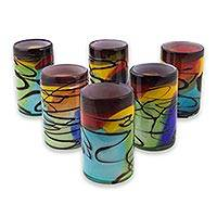 Blown glass tumbler glasses, 'Vizz' (set of 6) - Artisan Crafted Blown Multicolored Tumbler Glass (set of 6)