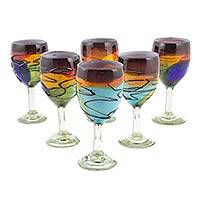 Blown glass wine glasses, 'Vizz' (set of 6) - 6 Artisan Crafted Blown Glass Multicolored Wine Glasses