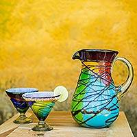 Blown glass martini glasses, 'Vizz' (set of 6) - Mexican Multicolored Blown Glass 8 oz Martini Glasses