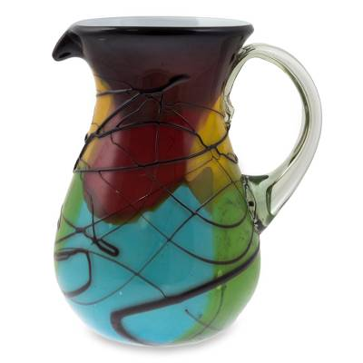 Blown glass pitcher, 'Vizz' - Multicolor Hand Crafted Blown Glass Pitcher from Mexico