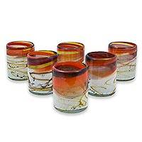 Blown glass juice glasses, 'Caramel Fantasy' (set of 6) - Hand Crafted Blown Glass Juice Glasses (Set of 6)