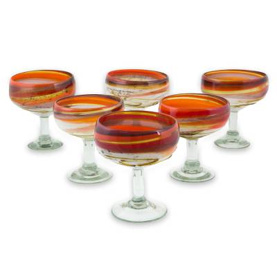 Blown glass margarita glasses, 'Caramel Fantasy' (set of 6) - Hand Crafted Blown Glass Brown Margarita Glasses (Set of 6)