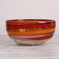 Blown glass bowl, 'Caramel Fantasy' - Handblown Recycled Glass Bowl in Brown and Yellow