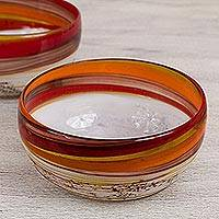 Blown glass bowls, 'Caramel Fantasy' (pair) - Brown and Yellow Blown Glass Bowls Crafted by Hand (Pair)
