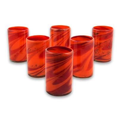 Blown glass highball glasses, 'Tornado of Fire' (set of 6) - Red and Orange 13 oz Highball Glasses Hand Blown Set of 6