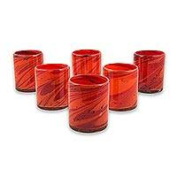 Blown glass rock glasses, 'Tornado of Fire' (set of 6) - Red and Orange 10 oz Rock Glasses Hand Blown Set of 6