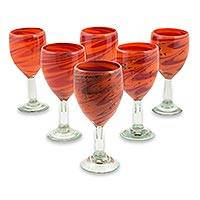 Blown glass wine glasses, 'Tornado of Fire' (set of 6) - Red and Orange 11 oz Wine Glasses Hand Blown Set of 6