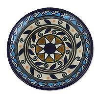 Ceramic dessert plates, 'Puerto Escondido' (pair) - Aztec Surf Motif Set of Two Ceramic 6-Inch Dessert Plates