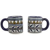 Ceramic cups, 'Puerto Escondido' (pair) - Handcrafted 5 oz Mexican Ceramic Cups (Pair)