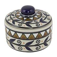 Ceramic covered crock, 'Puerto Escondido' - Ceramic Handcrafted Covered Crock from Mexico