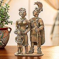 Ceramic sculpture, 'Maya King Pacal and His Family' - Handcrafted Maya Archaeology Ceramic Sculpture from Palenque