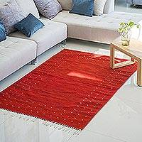 Zapotec wool rug, 'Fire in the Sky' (4x6) - Zapotec Hand Woven Red Wool Area Rug 4x6