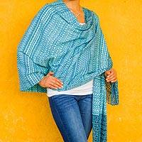 Cotton rebozo shawl, 'Ocean Mist' - Blue Mexican Rebozo Shawl in Hand Woven Cotton
