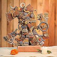 Ceramic sculpture, 'Aztec God Tezcatlipoca' - Signed Ceramic Sculpture of the Aztec Deity Tezcatlipoca