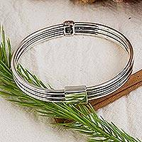 Sterling silver bangle bracelet, 'Urban Sensation' - Sterling Silver Bangle Bracelet Hand Crafted Taxco Jewelry