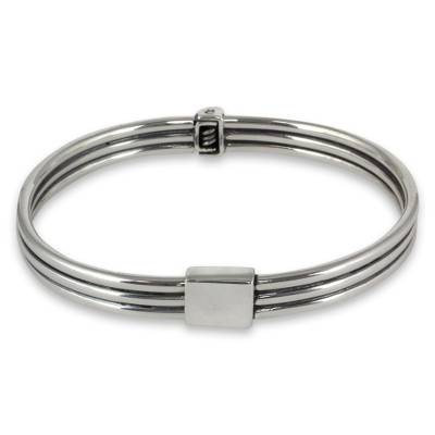 Sterling Silver Bangle Bracelet Hand Crafted Taxco Jewelry