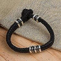 Mens leather braided bracelet, Intrepid by Nature