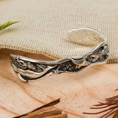 Sterling silver cuff bracelet, Sea Life Wonders