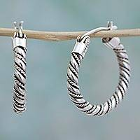 Sterling silver hoop earrings, 'Twist and Shine' - Hoop Earrings Handcrafted of Sterling Silver in Taxco