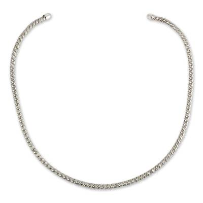 Handcrafted Sterling Silver Spiral Choker Necklace
