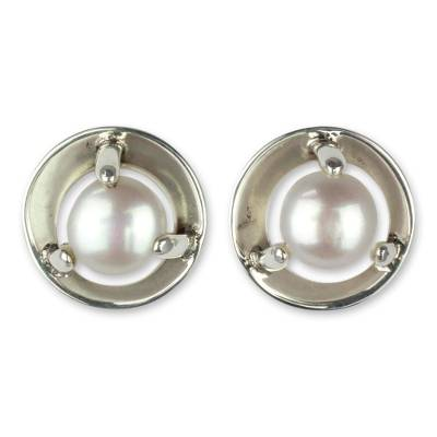 Cultured Pearl and Taxco Silver Button Earrings