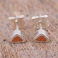 Sterling silver stud earrings, 'Sunny Spark' - Copper on Sterling Silver Stud Earrings from Taxco