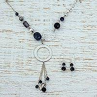 Labradorite and agate jewelry set, 'Night Wanderer' - Labradorite Necklace and Earrings Jewelry Set from Mexico