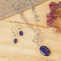 Lapis lazuli and aquamarine jewelry set, 'Gentle Raindrops' - Lapis Lazuli and Aquamarine Handcrafted Silver Jewelry Set